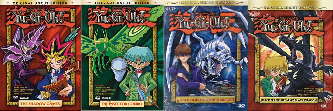 The only 3 dvd's ever released for the uncut 4kids dub. There were 3 episodes on each, and the far right dvd was planned, even taking pre orders, but never released, leaving this dub at only 9 episodes.